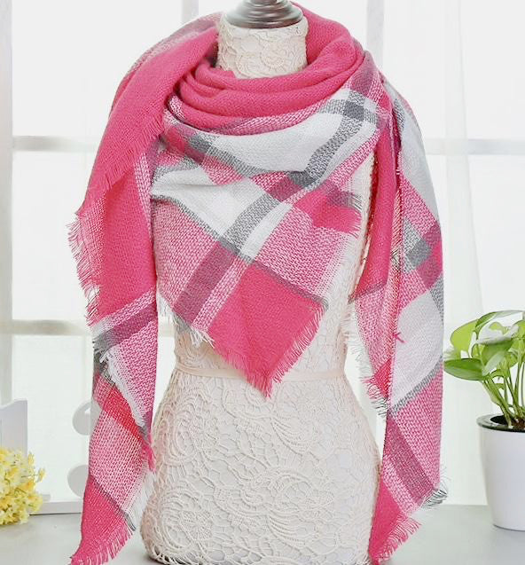 Fall Winter Plaid Acrylic Triangle Scarf - Pink with White and Gray