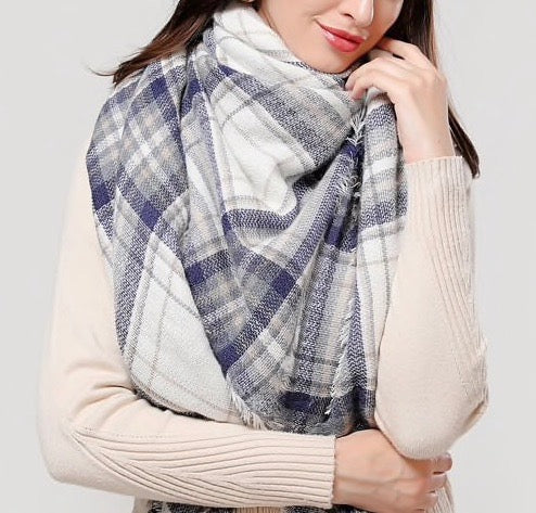 Winter Fall Acrylic Plaid Triangle Scarf - Ivory/Gray/Navy Blue