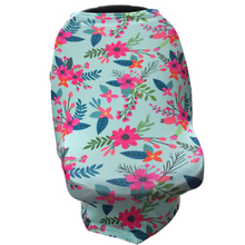 Floral Multi Use Baby Nursing Scarf, Car Seat Canopy Cover- Aqua/Pink