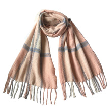 Acrylic Plaid Winter Scarves with Tassels in 5 Colors