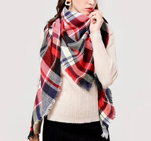 Fall Winter Plaid Acrylic Triangle Scarf - Red/Blue/Black/Yellow