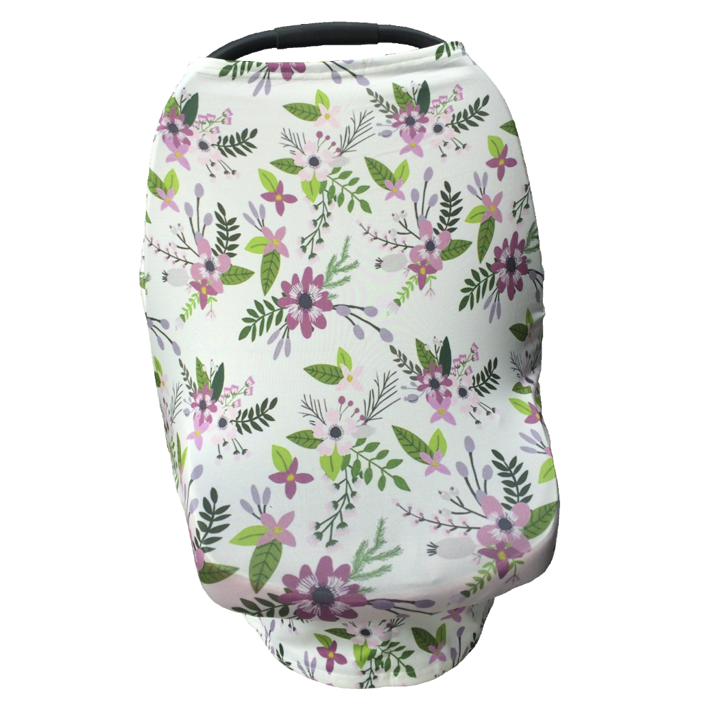 Floral Multi Use Baby Nursing Scarf Car Seat Canopy Cover Purple Green