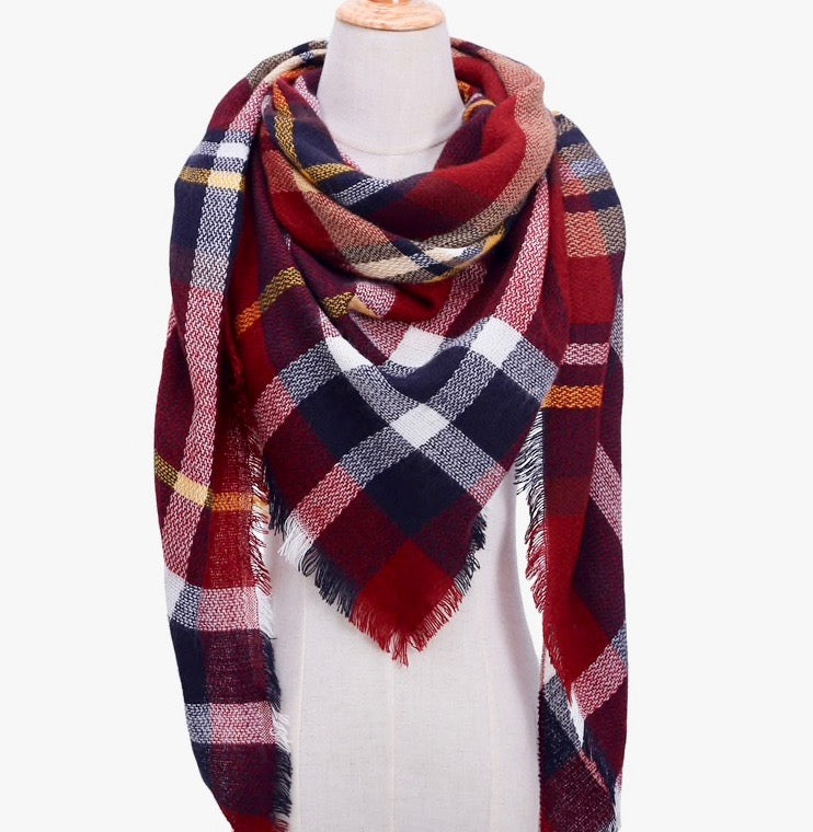 Fall Winter Plaid Acrylic Triangle Scarf - Rusty Red/Black/White