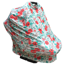 Floral Multi Use Baby Nursing Scarf, Car Seat Canopy Cover- Orange/Aqua