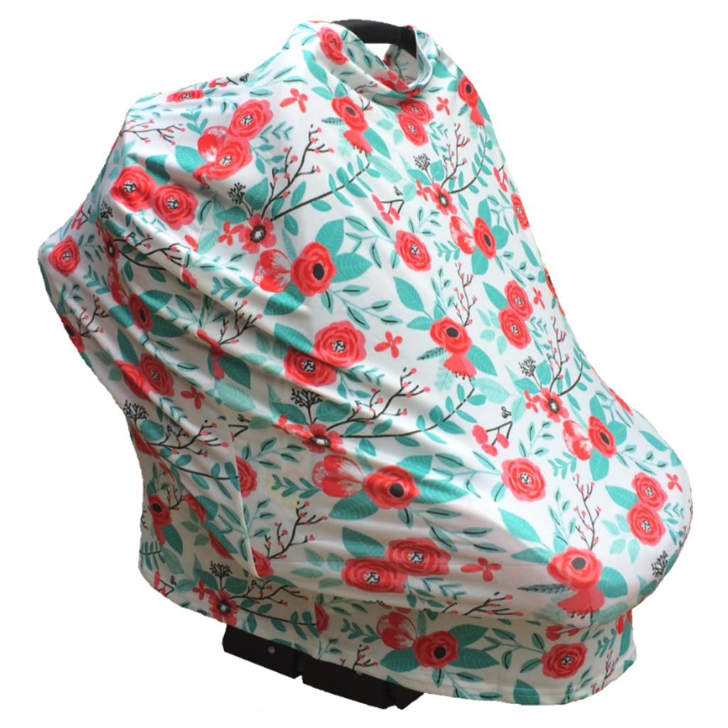 Floral Multi Use Baby Nursing Scarf Car Seat Canopy Cover Orange Aqua