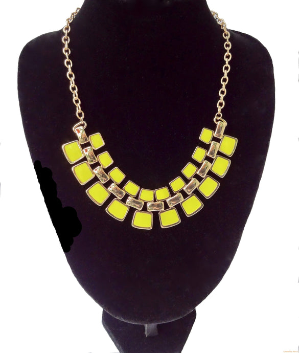 Yellow Fashion Statement Necklace