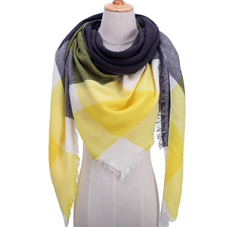 Fall Winter Plaid Acrylic Triangle Scarf - Yellow/Black/White
