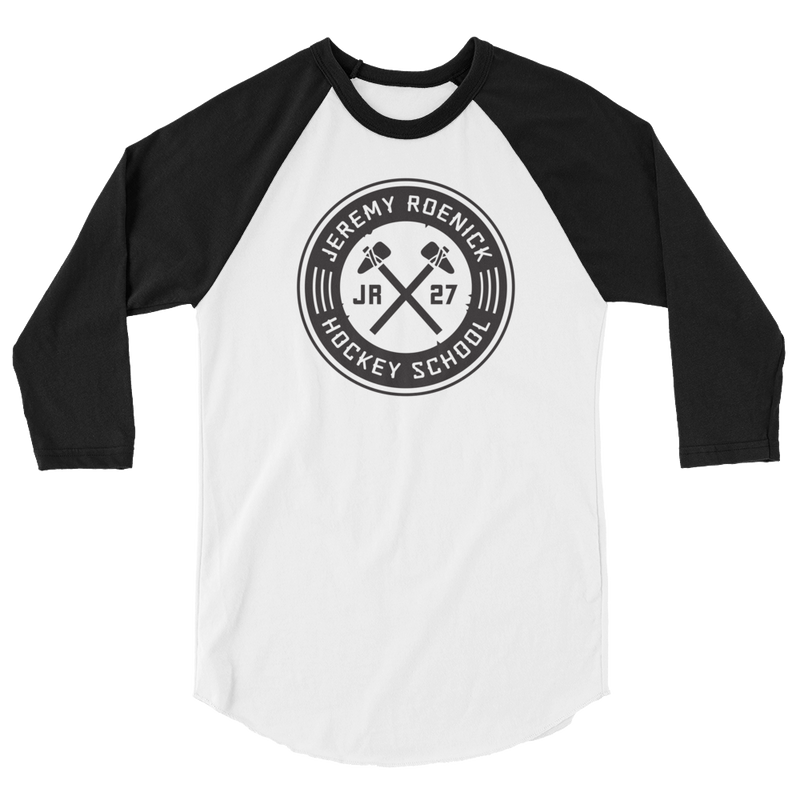 JR Hockey School Logo 3/4 Sleeve Baseball Shirt (White/Black)