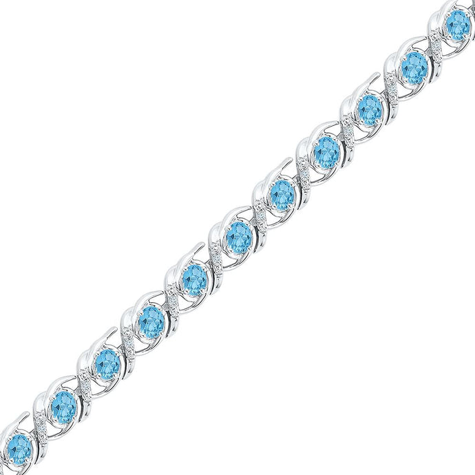 Sterling Silver Womens Round Lab-Created Blue Topaz Diamond Tennis Bracelet 4-1/2 Cttw