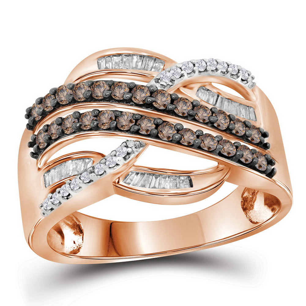 10kt Rose Gold Womens Round Brown Color Enhanced Diamond Crossover Band Ring 1/2 Cttw