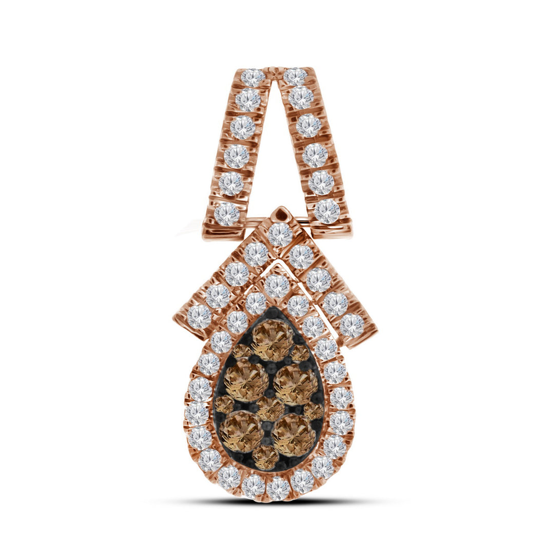 10kt Rose Gold Womens Round Cognac-brown Colored Diamond Teardrop Cluster Pendant 7/8 Cttw