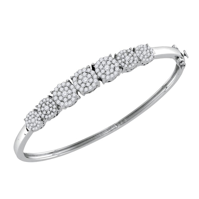 10kt White Gold Womens Round Diamond Concentric Cluster Bangle Bracelet 1-1/3 Cttw