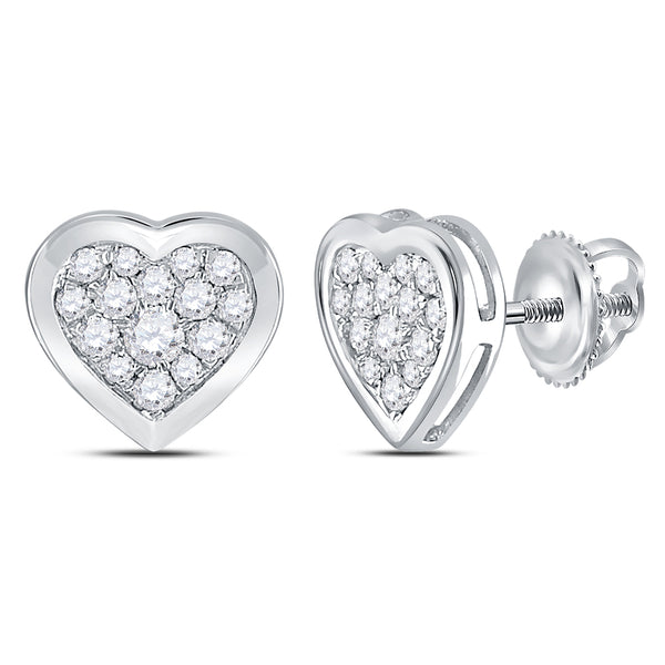 14kt White Gold Womens Round Diamond Heart Cluster Earrings 1/2 Cttw
