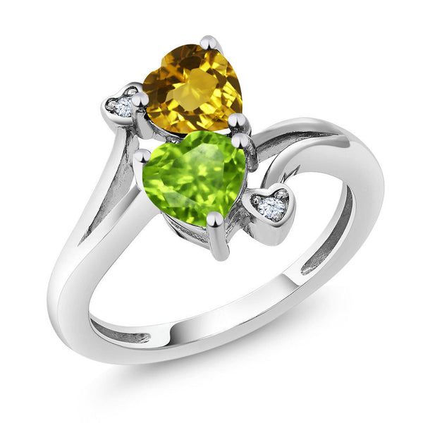 1.56 Ct Heart Shape Green Peridot Yellow Citrine 925 Sterling Silver Ring