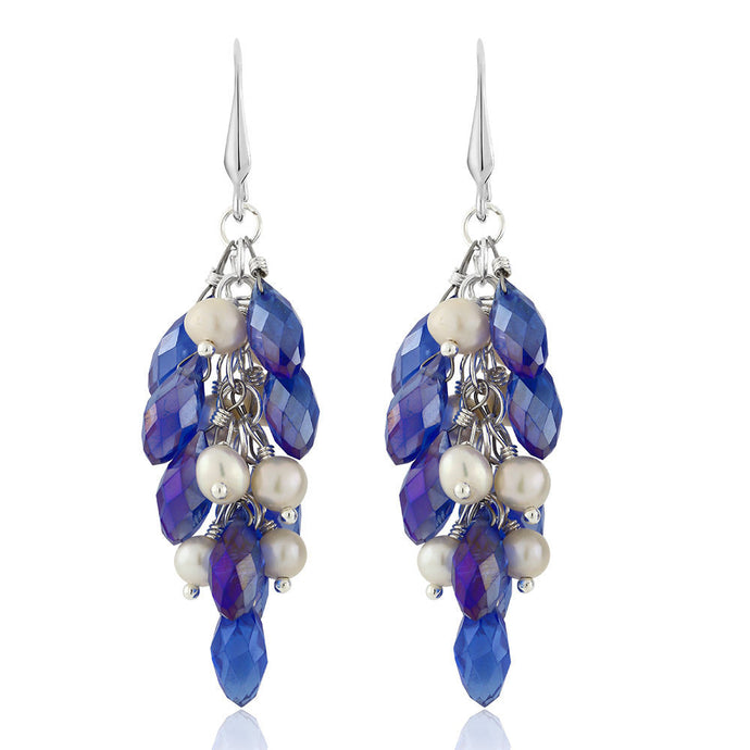 Aurora Blue Cluster Faceted Crystal Earrings with Cultured Freshwater Pearl