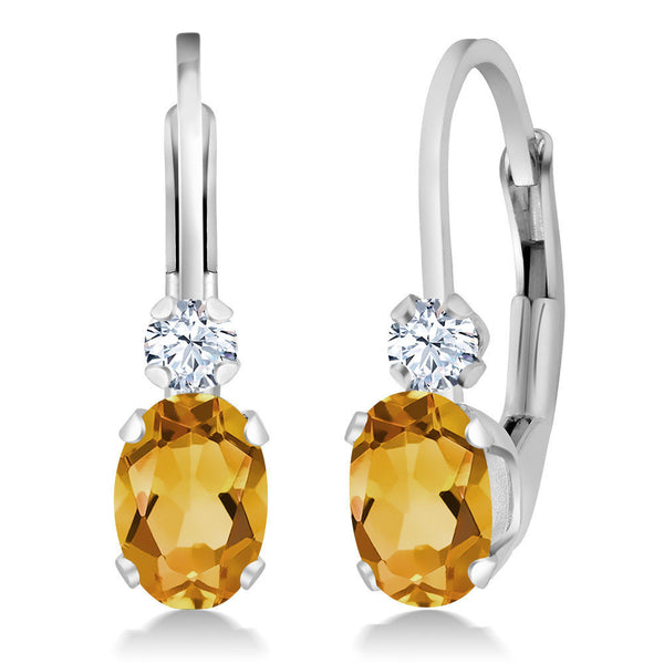 0.88 Ct Oval Yellow Citrine White Created Sapphire 925 Sterling Silver Earrings