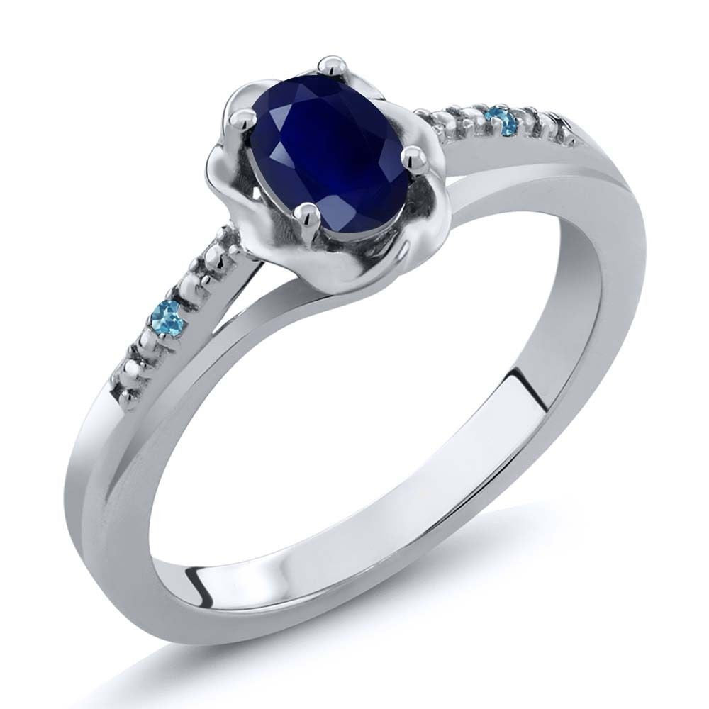 Blue Sapphire Swiss Blue Simulated Topaz 925 Sterling Silver Ring