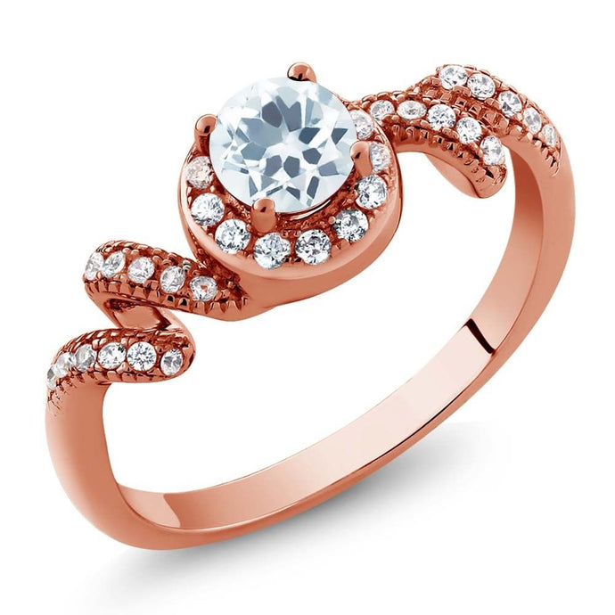 0.79 Ct Round Sky Blue Aquamarine 18K Rose Gold Plated Silver Twist Ring