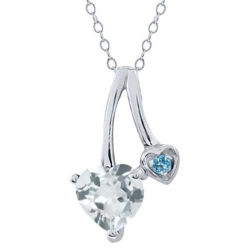 0.68 Ct Aquamarine and Swiss Blue Simulated Topaz 925 Sterling Silver Pendant