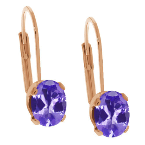 3.10 Ct Oval Blue Tanzanite Gold Plated 4-prong Leverback Earrings 8x6mm