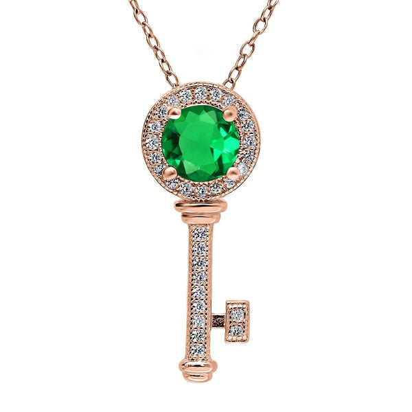 1.14 Ct Round Green Simulated Emerald 18K Rose Gold Plated Silver Key Pendant