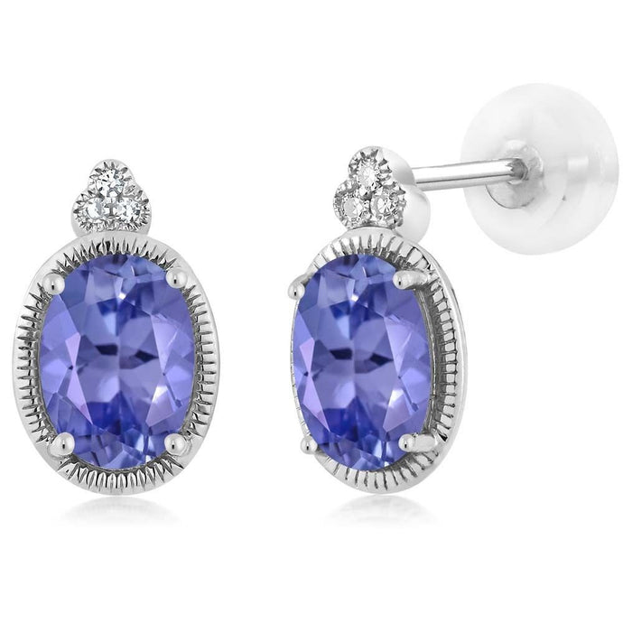 Women's Oval 6x4mm Blue Tanzanite 10K White Gold Diamond Stud Earrings