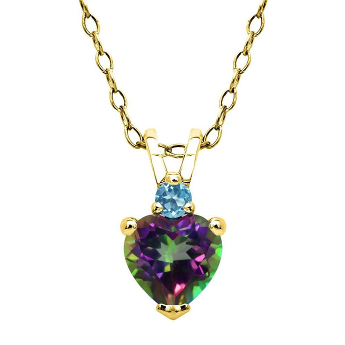 0.65 Ct Mystic Topaz and Swiss Blue Topaz 18K Yellow Gold Plated Silver Pendant