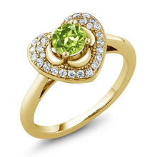 0.77 Ct Round Green Peridot 18K Yellow Gold Plated Silver Heart Ring