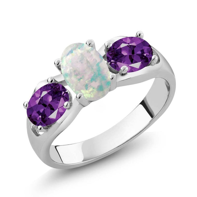 1.33 Ct Oval Cabochon White Simulated Opal Amethyst 925 Sterling Silver Ring