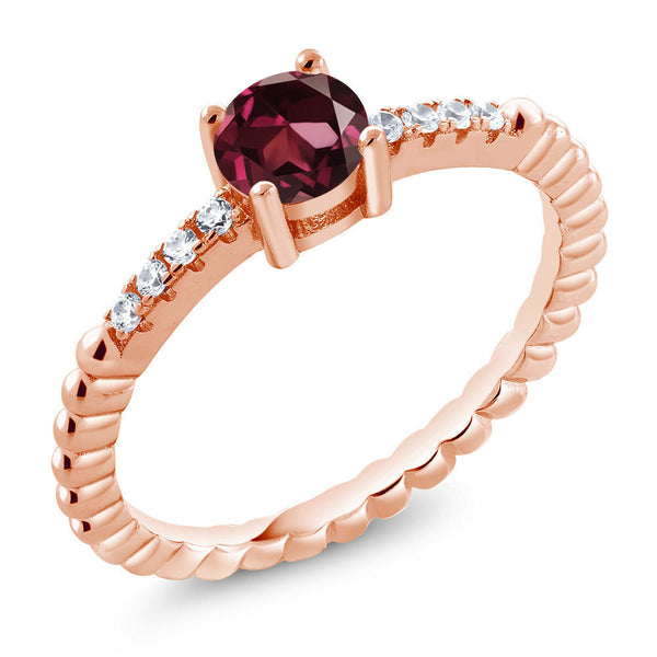 0.68 Ct Red Rhodolite Garnet Swarovski Zirconia 18K Rose Gold Plated Silver Ring