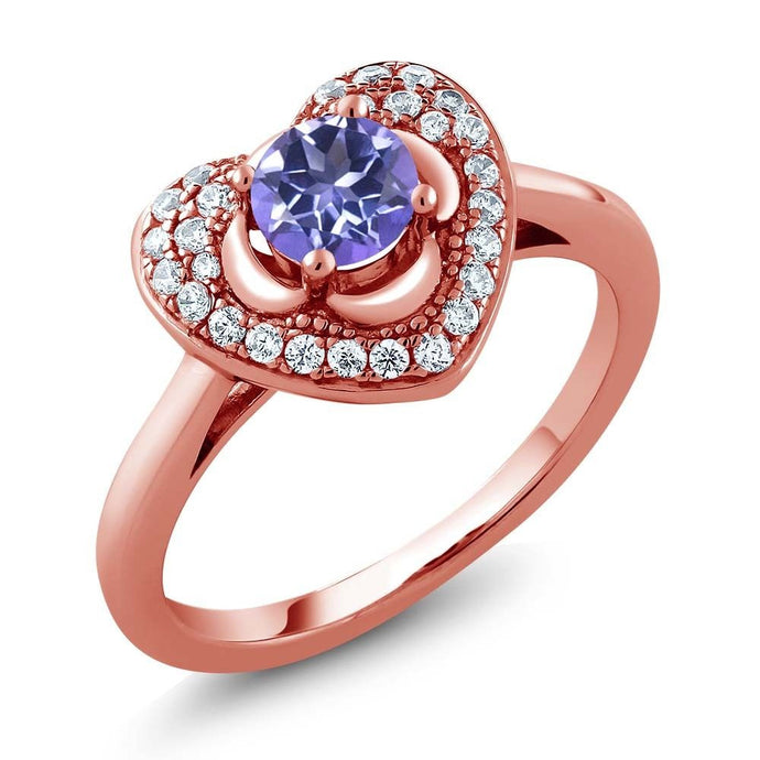 0.92 Ct Round Purple Blue Mystic Topaz 18K Rose Gold Plated Silver Heart Ring