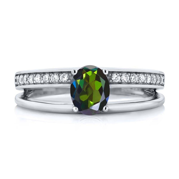 Oval Forest Green Mystic Topaz 925 Sterling Silver Ring