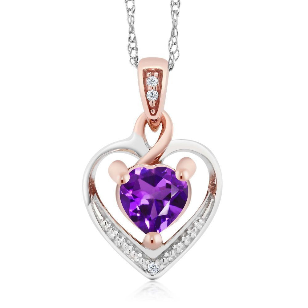10K Two-Tone Gold Amethyst and Diamond Heart Shape Pendant Necklace w/ 18