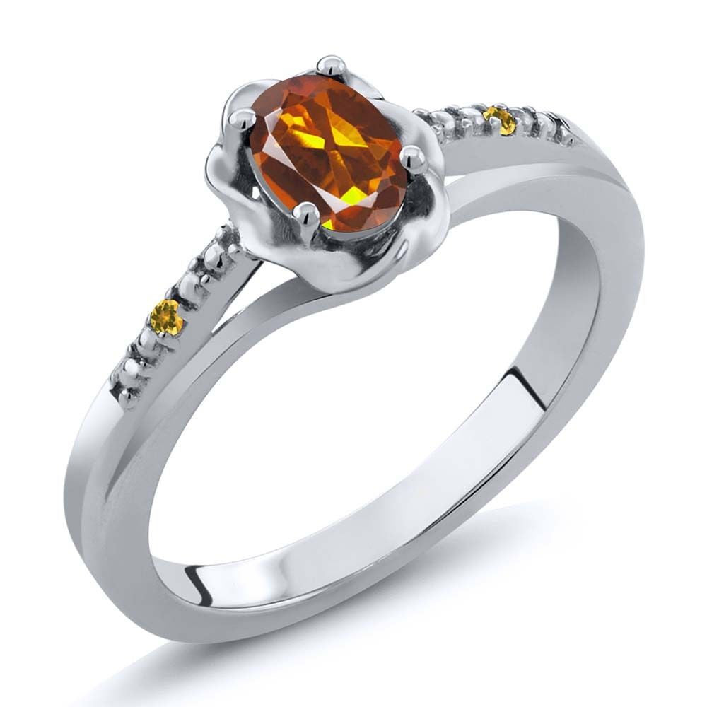 Orange Madeira Citrine Simulated Citrine 925 Sterling Silver Ring