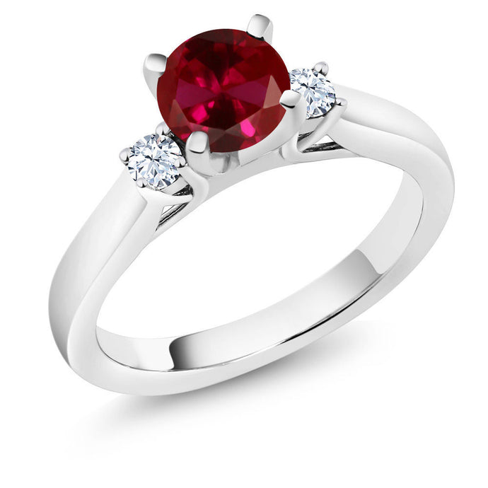 1.22 Ct Round Red Created Ruby 925 Sterling Silver 3-Stone Ring