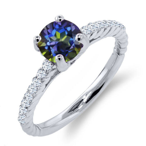 1.02 Ct Round Blue Mystic Topaz White Topaz 925 Sterling Silver Ring