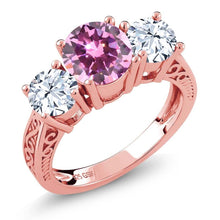 2.78 Ct Round Pink and 18K Rose Gold Plated Silver 3-Stone Ring
