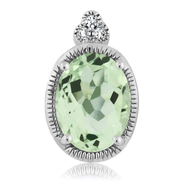 Women's Oval Green Amethyst 10K White Gold Diamond Pendant With Chain