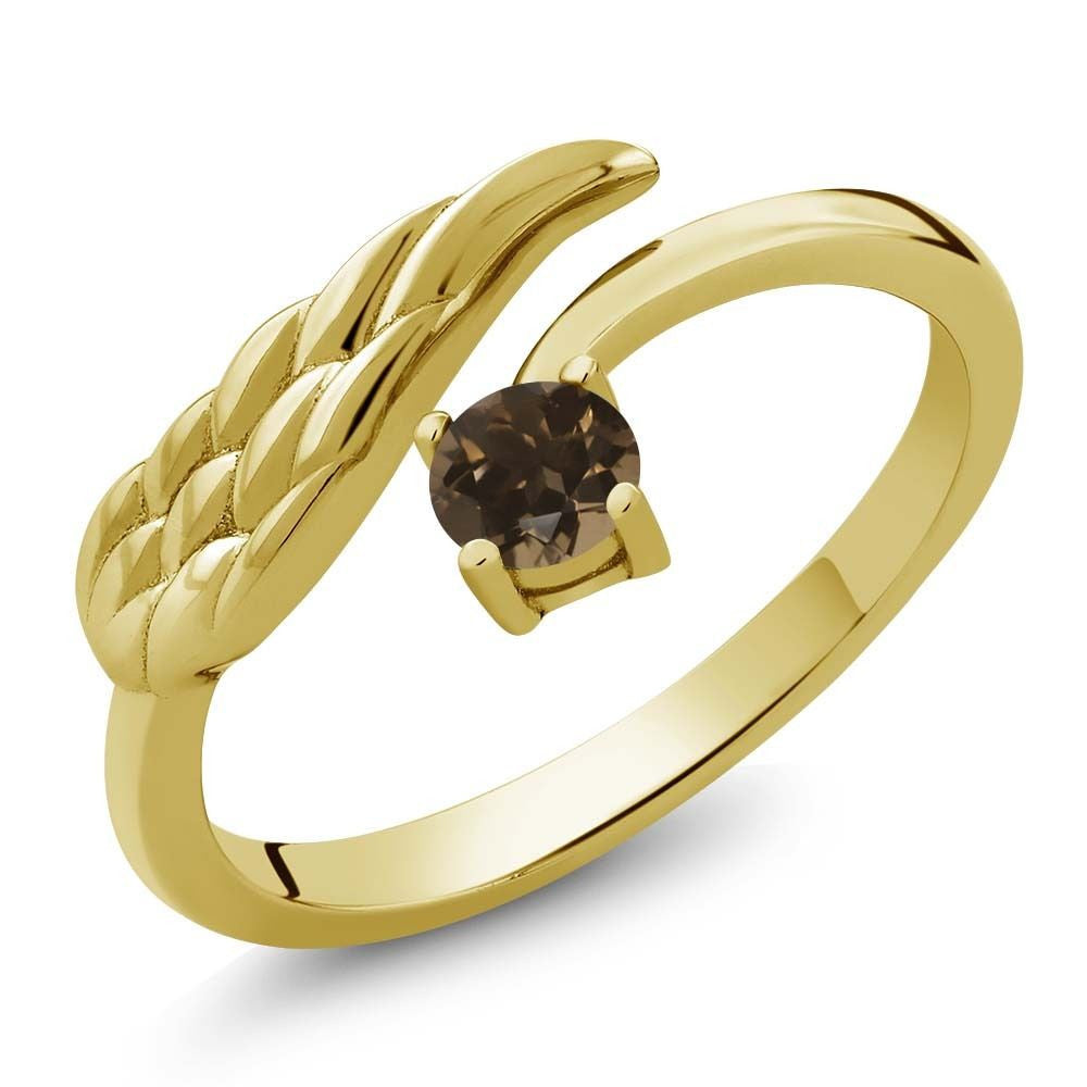 Brown Smoky Quartz 18K Yellow Gold Plated Silver Wing Ring