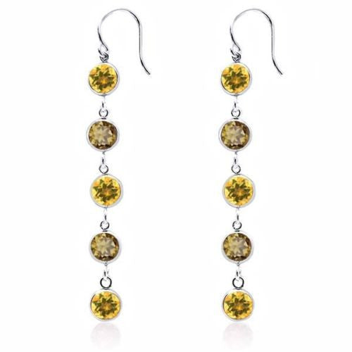 Round Yellow Citrine Whiskey Quartz 925 Sterling Silver Earrings
