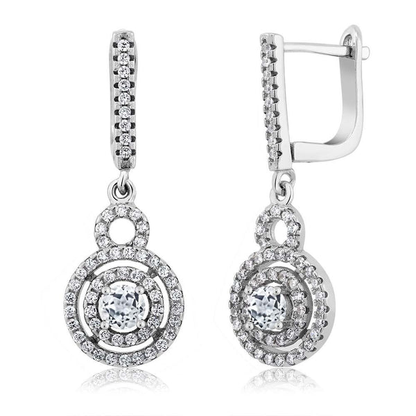 White Topaz 925 Sterling Silver Earrings