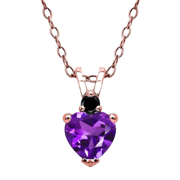 Purple Amethyst Black Diamond 18K Rose Gold Plated Silver Pendant