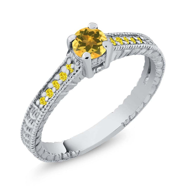 Yellow Citrine 925 Sterling Silver Engagement Ring