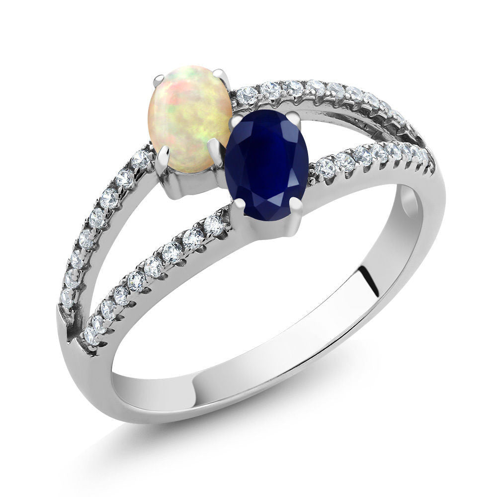 yellow sapphire opal store princess gold blue size harem ring thai