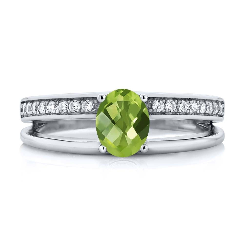 Oval Checkerboard Green Peridot 925 Sterling Silver Ring