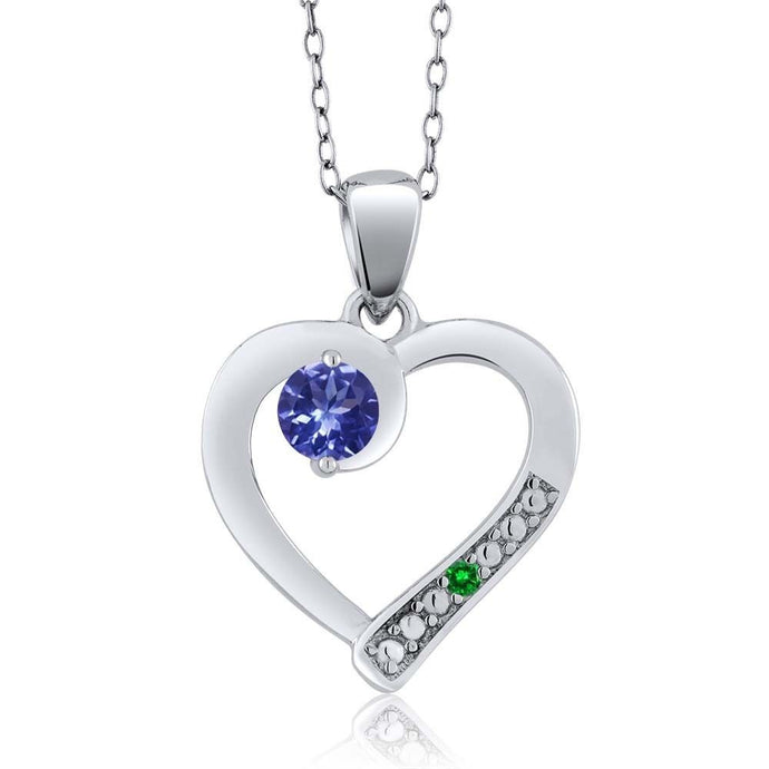 Blue Tanzanite Green Simulated Emerald 925 Sterling Silver Pendant