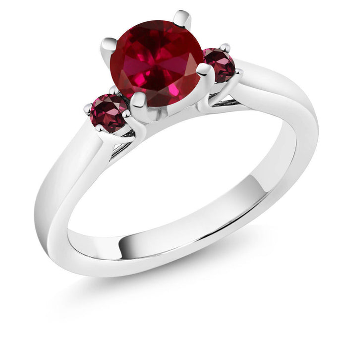 1.24 Ct Red Created Ruby Red Rhodolite Garnet 925 Sterling Silver 3-Stone Ring