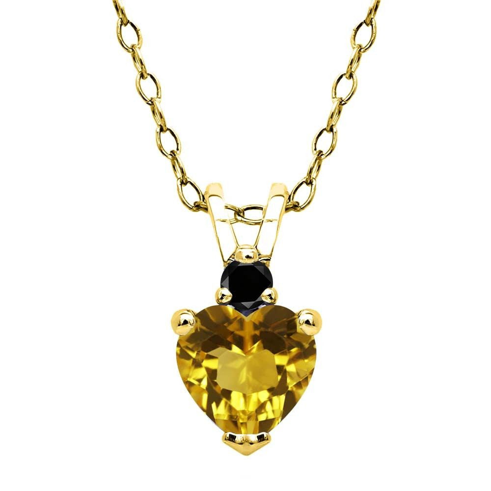 Yellow Citrine Black Diamond 18K Yellow Gold Plated Silver Pendant