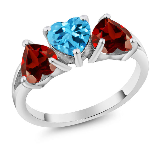 2.75 Ct Heart Shape Swiss Blue Topaz Red Garnet 925 Sterling Silver Ring