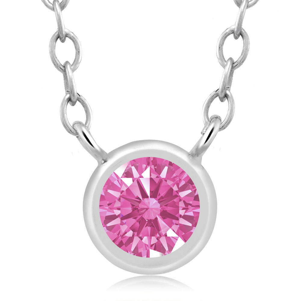 Pink 925 Sterling Silver Pendant Made With Swarovski Zirconia